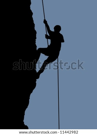 Illustration of a person rock climbing - stock photo