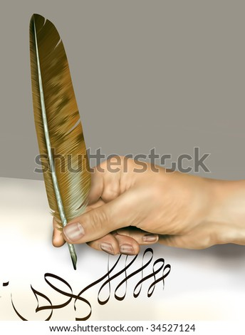 Illustration of a person signing a document with a feather quill - stock photo