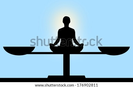 Illustration of a person sitting in the center of scales meditating - stock photo