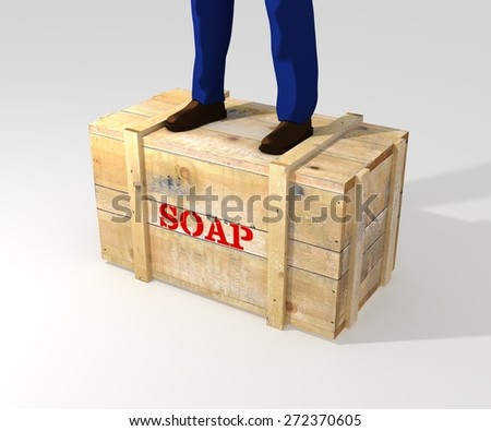 Illustration of a person standing on a soapbox - stock photo