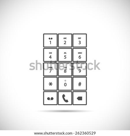 Illustration of a phone keypad isolated on a light background. - stock photo