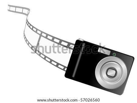 Illustration of a photo camera and filmstrip - stock photo
