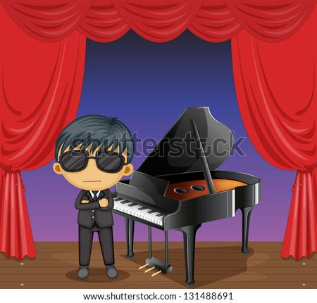 Illustration of a piano with a pianist - stock photo