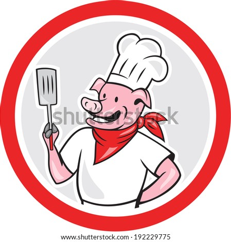 Illustration of a pig chef cook holding spatula set inside circle shape done in cartoon style on isolated white background.