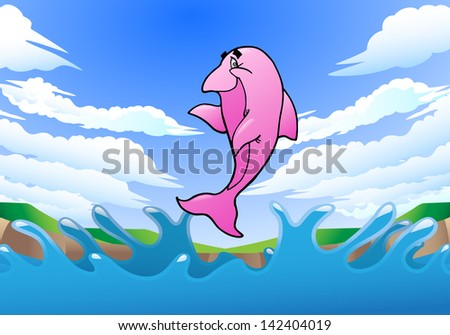 illustration of a pink dolphin on shore background