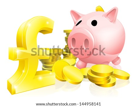 Illustration of a pink piggy bank with lots of gold coins and a big pound sign or symbol - stock photo