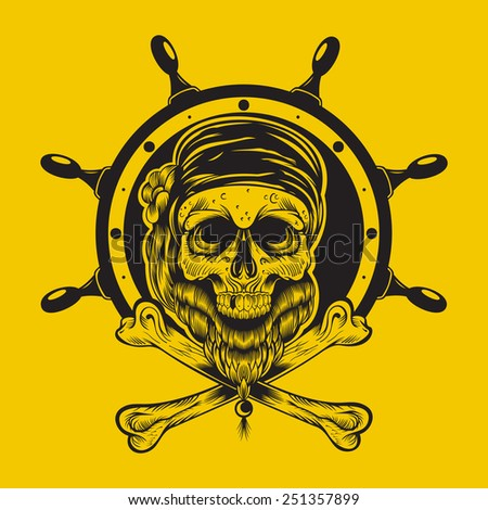 Illustration of a pirate skull with steering wheel.  - stock photo