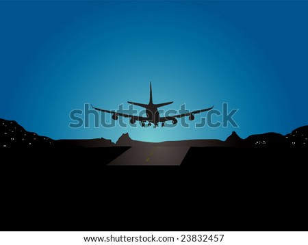 Illustration of a plane landing with a mountain view with house lights in the distance