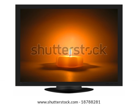 illustration of a plasma TV with a christmas candle in the screen - stock photo