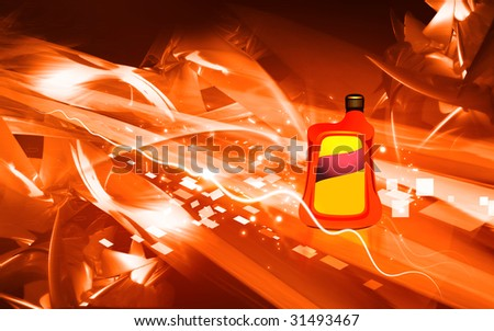 Illustration of a plastic container for lubricants	 - stock photo