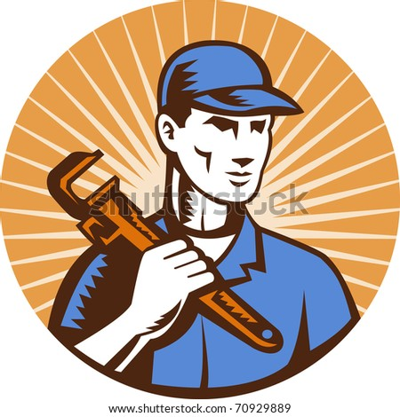 illustration of a Plumber holding monkey wrench standing front view set inside circle with sunburst done in retro style
