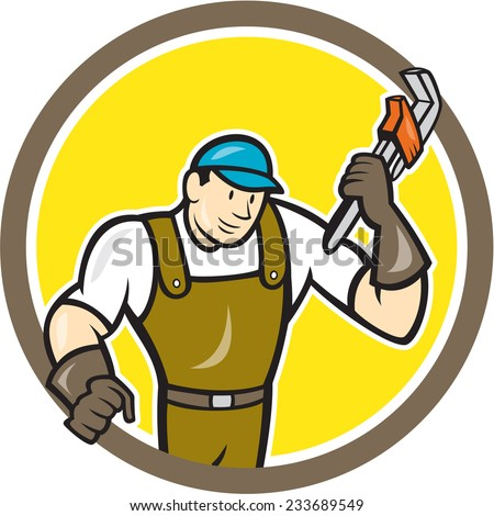Illustration of a plumber in overalls and hat holding monkey wrench set inside circle on isolated background done in cartoon style.