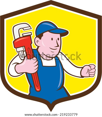 Illustration of a plumber in overalls and hat holding monkey wrench set inside shield crest on isolated background done in cartoon style.