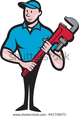 Illustration of a plumber in overalls and hat standing looking to the side holding monkey wrench viewed from front set on isolated white background done in cartoon style. - stock photo
