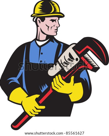 illustration of a plumber repairman holding monkey wrench on isolated white background