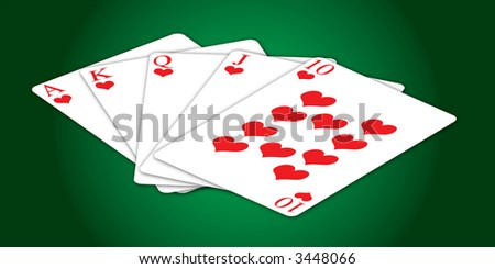 Illustration of a poker hand with hearts on a green table with central lighting