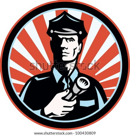 Illustration of a police officer policeman security guard holding a flashlight torch set inside circle done in retro style. - stock photo
