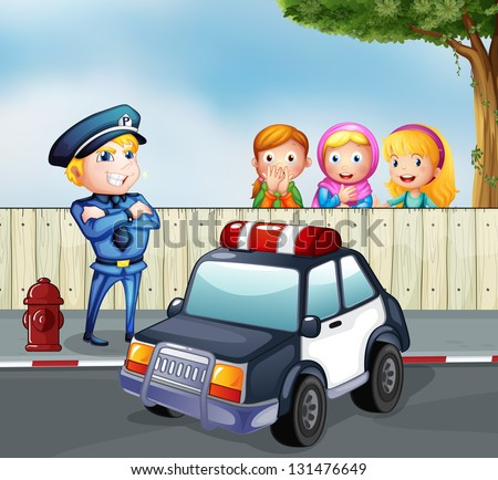 Illustration of a policeman and the three girls outside the fence - stock photo
