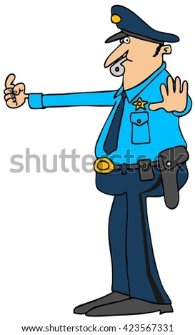 Illustration of a policeman directing traffic with a whistle in his mouth.