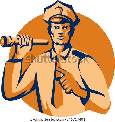 Illustration of a policeman police officer holding torch flashlight pointing facing front  set inside circle on isolated background done in retro style. - stock photo