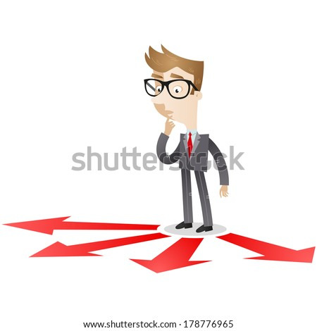 Illustration of a pondering cartoon businessman looking at red arrows on the floor which point in different directions. - stock photo