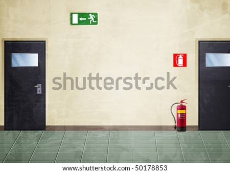 Illustration of a portion of a corridor. There are: two doors, an exit sign and a fire extinguisher. I colored it with a grunge style - stock photo