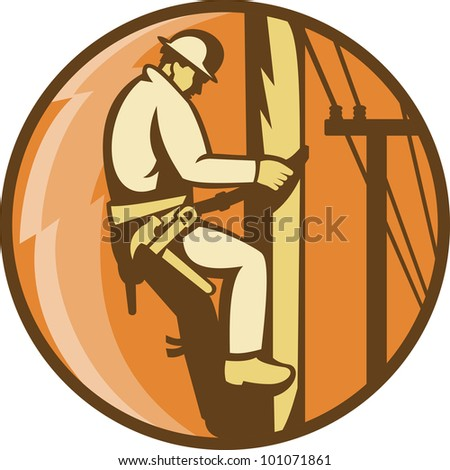 Illustration of a power lineman worker electrician climbing electricity utility post with lightning bolt set inside circle done in retro style. - stock photo
