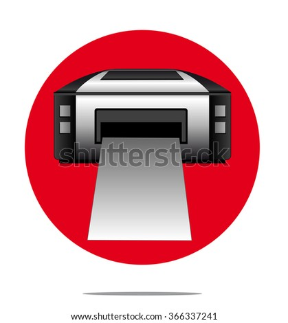 Illustration of a printer with red circle background - stock photo