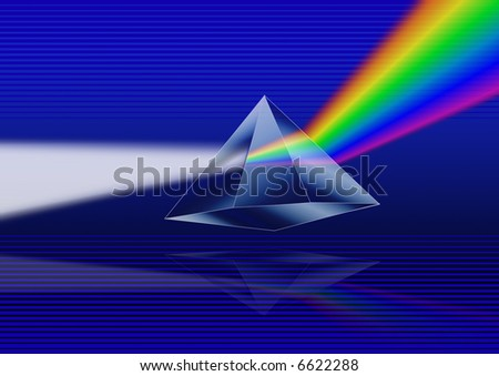 Illustration of a prism refracting light - stock photo