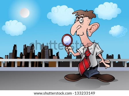 illustration of a private detective hold magnifying glass on city background - stock photo