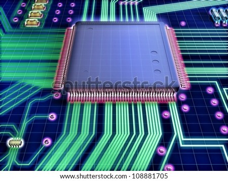 Illustration of a processor prototype, referring to concepts such as product design, research and development, as well as high-technology - stock photo