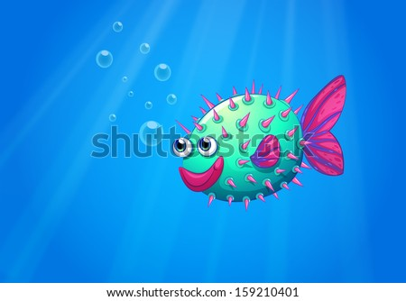 Illustration of a puffer fish smiling