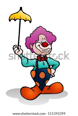 illustration of a purple hair funny clown holding yellow umbrella on isolated white background - stock photo