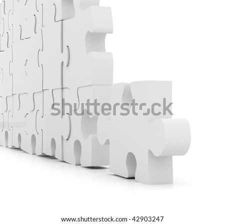 illustration of a puzzle assembling isolated over white