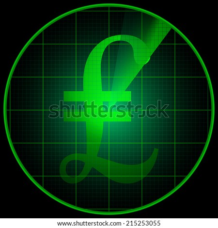 Illustration of a radar screen with pond sterling symbol - stock photo