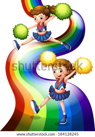 Illustration of a rainbow and the two cheerers on a white background - stock photo