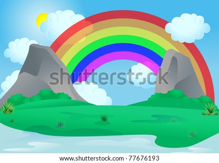 illustration of a rainbow appear over an alley between two rock mountain on blue sky background