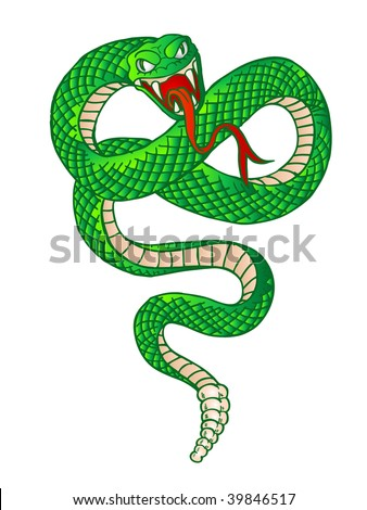 illustration of a rattle snake preparing to strike - stock photo