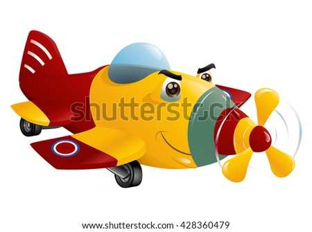 illustration of a red and yellow commercial plane flying on isolated white background - stock photo