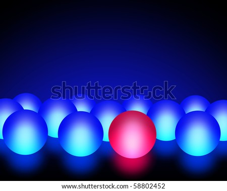 Illustration of a red ball among blue balls - stock photo