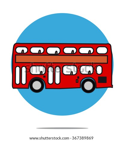 Illustration of a red bus with blue circle background - stock photo