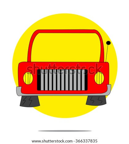 Illustration of a red car with yellow circle background - stock photo