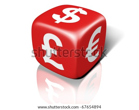 Illustration of a red dice showing currency symbols - stock photo