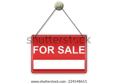 "Illustration of a red ""For Sale"" sign isolated on white background with copy cpace on the sign"