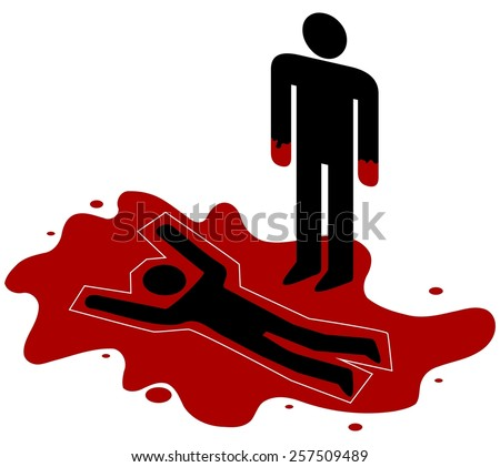 Illustration of a red handed person standing over a dead body - stock photo