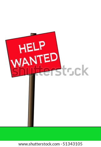 Illustration of a red help wanted sign