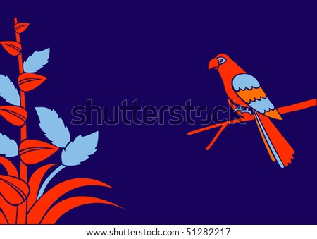 Illustration of a red parrot on a branch - stock photo