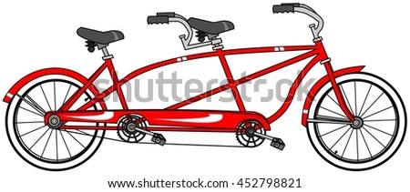 of a red tandem bicycle with large whitewall tires