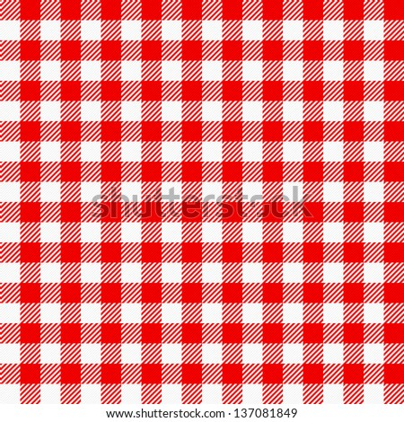 Illustration Of A Red White Plaid Tablecloth