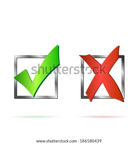 Illustration of a red X and green check mark isolated on a white background. - stock photo